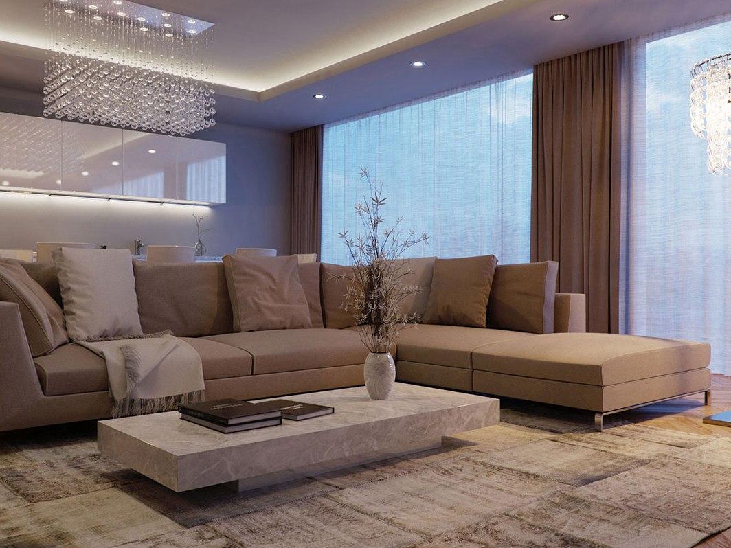 Бежевый и коричневый цвета в гостиной