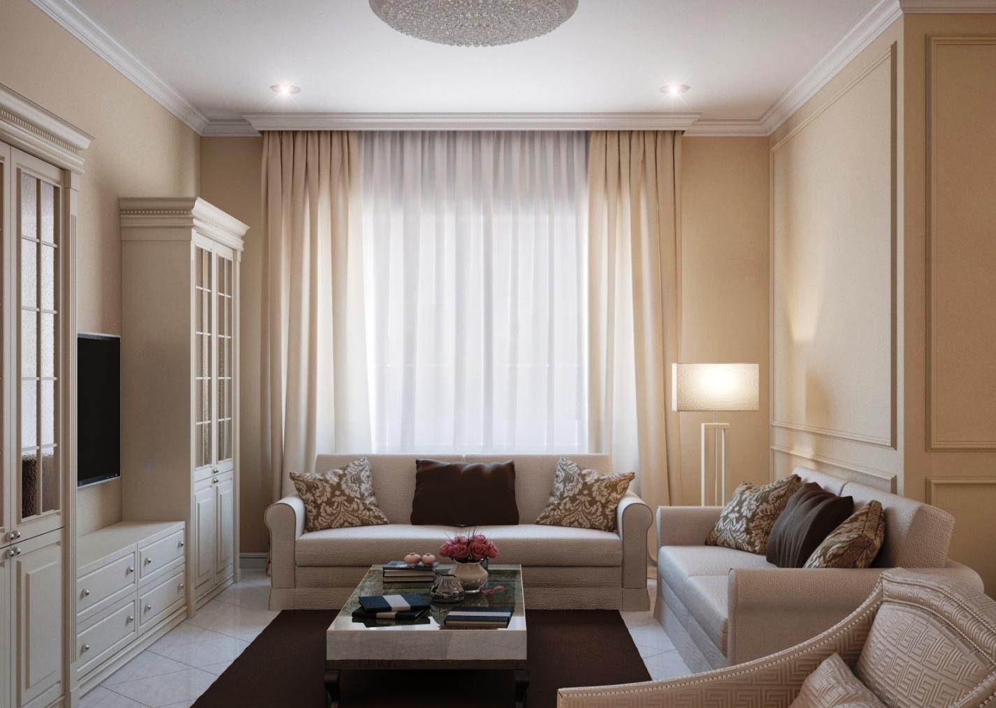 Бежевый, шоколадный и белый цвета в интерьере гостиной