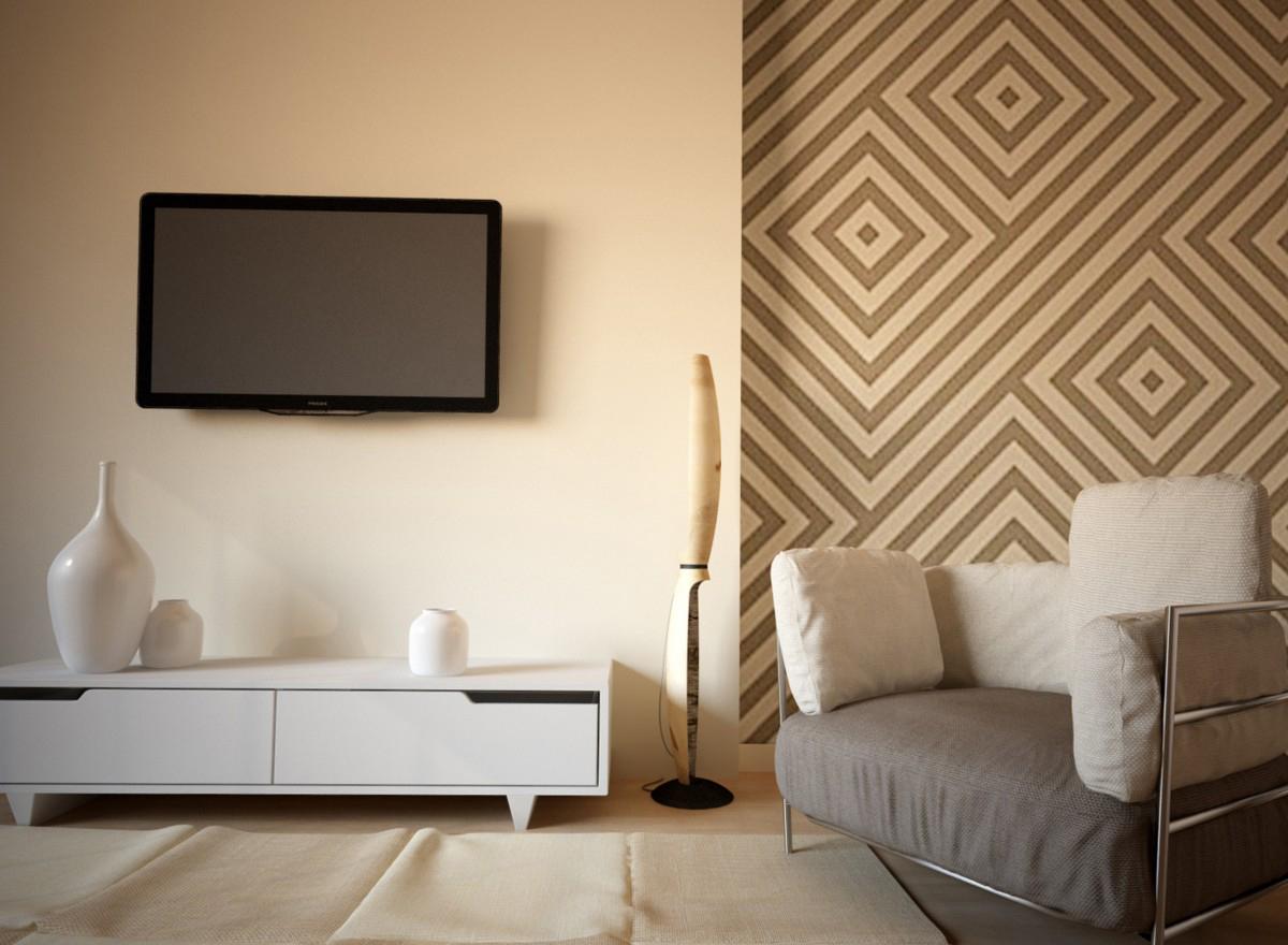 Серо-бежевый дизайн гостиной