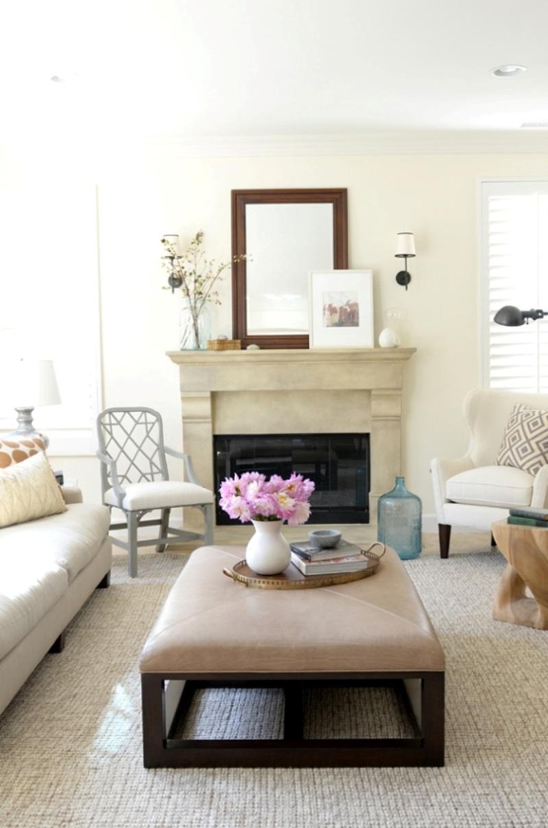 Бежево-коричневый дизайн гостиной