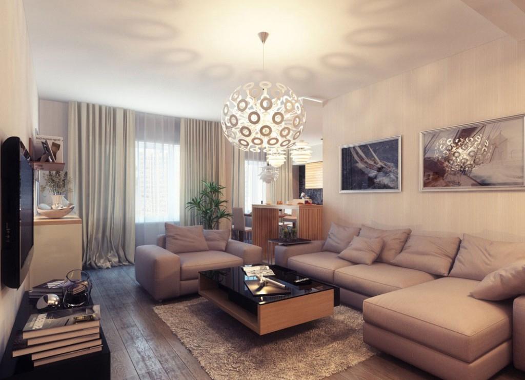 Бежевый, коричневый и черный цвета в гостиной