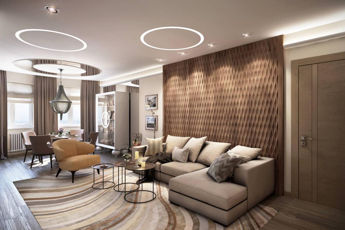 Бежево-коричневая уютная гостиная-столовая