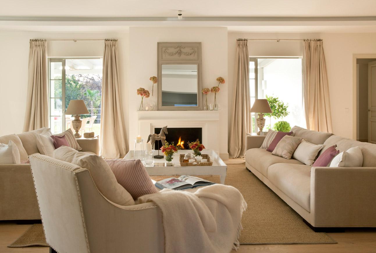 Бежево-розовая гостиная