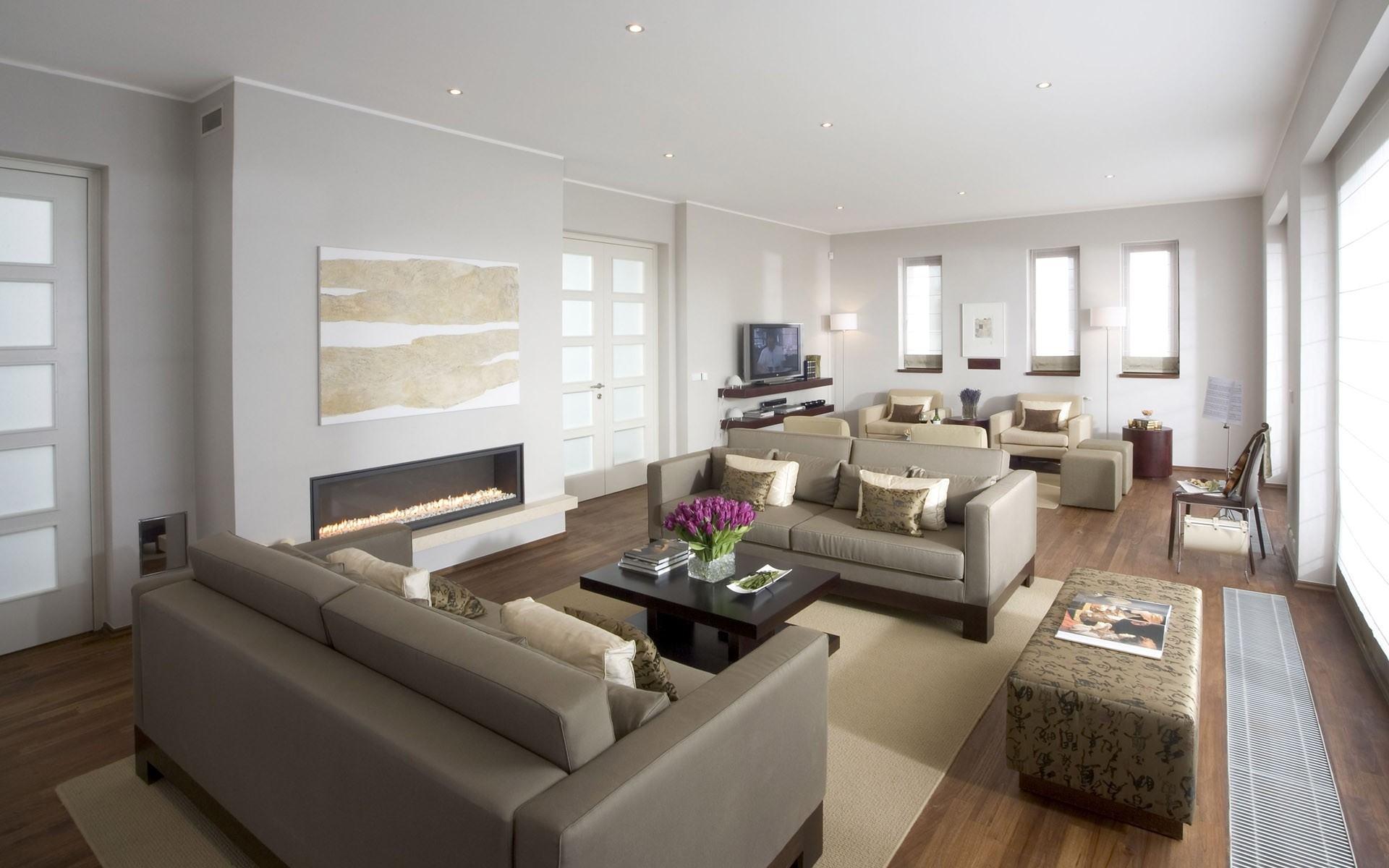 Бежево-серый интерьер гостиной