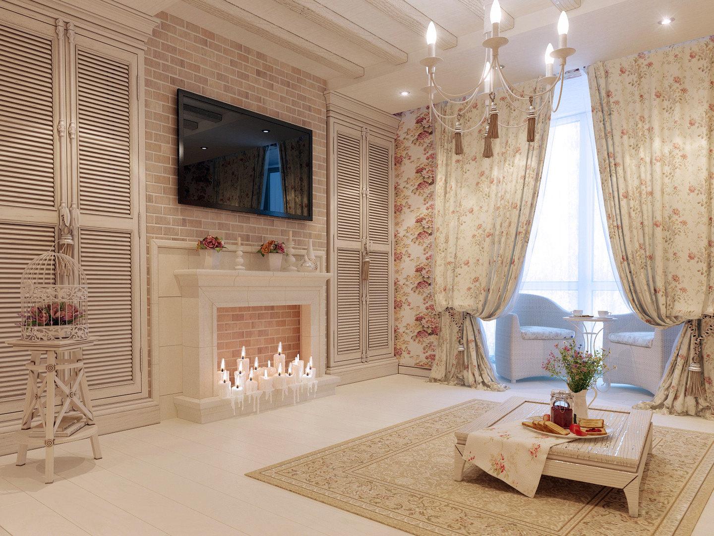 Бежево-белая гостиная в стиле прованс