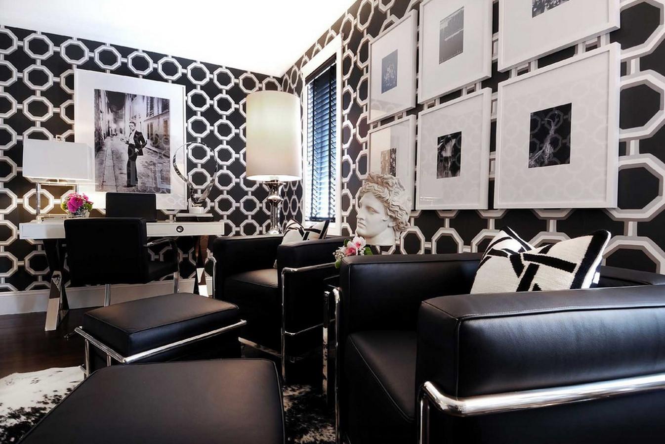 Черно-белая гостиная: современные интерьеры с яркими акцентами