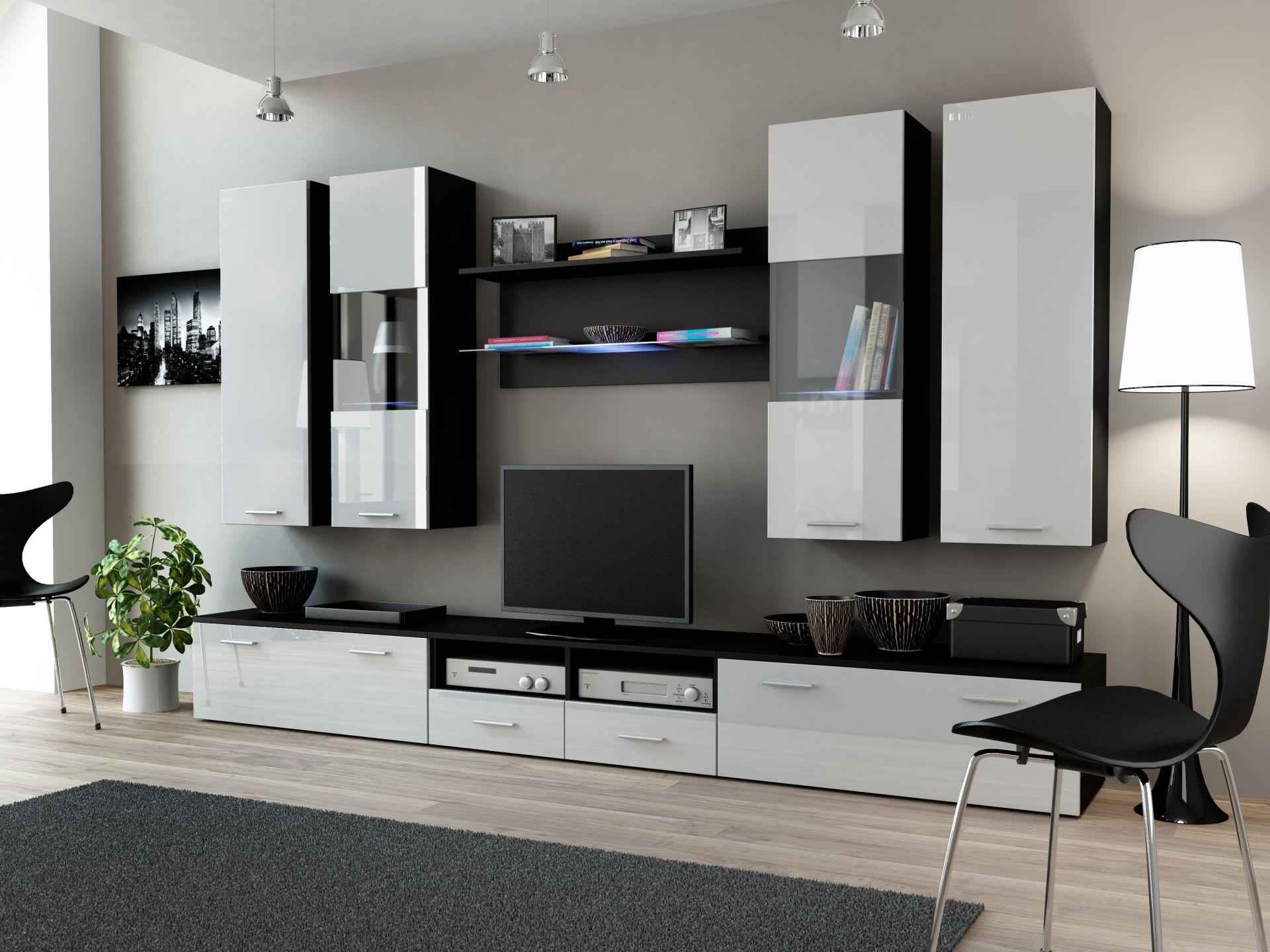 Черно-белая стенка в минималистичной гостиной