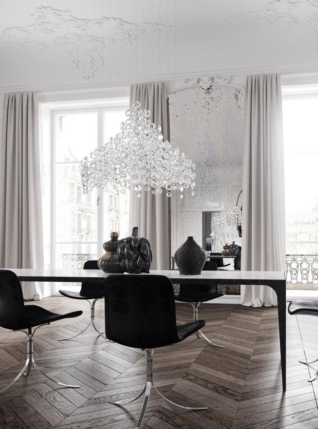 Модная черно-белая гостиная в стиле арт-деко