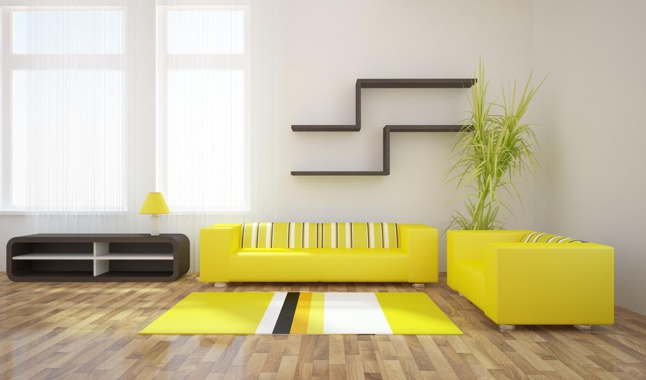 Белый, черный и желтый цвета в интерьере гостиной