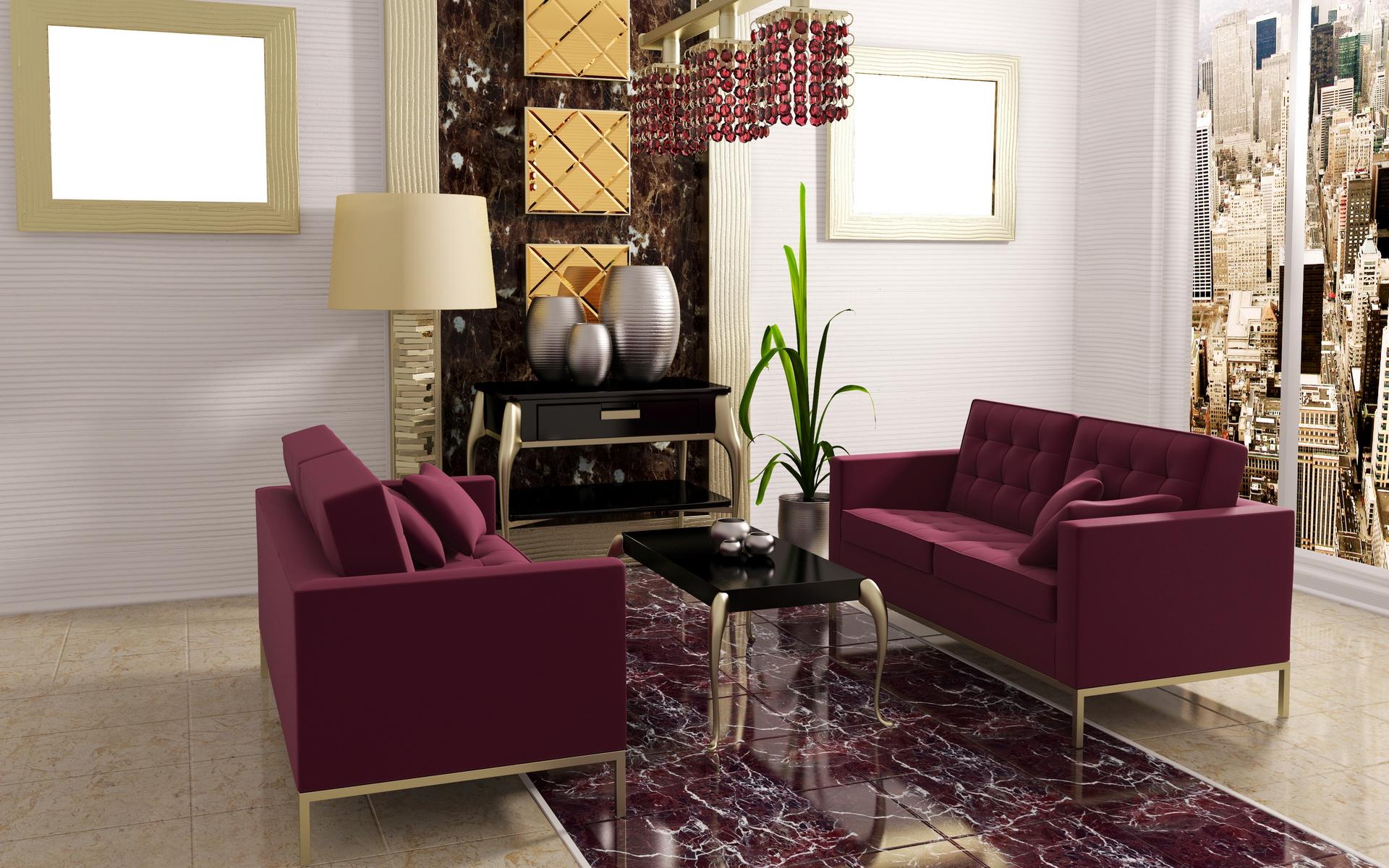 Бордовый, белый и золотой цвета в интерьере гостиной