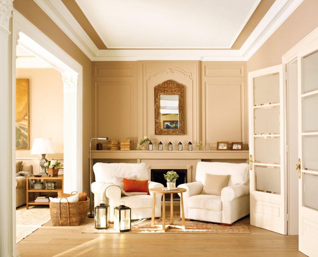 Бежевый, коричневый и белый цвета в интерьере гостиной