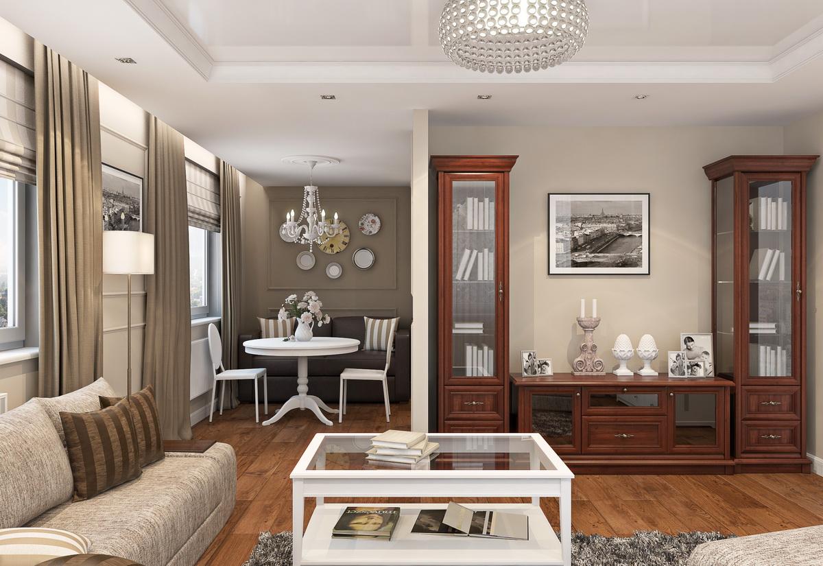 Коричнево-бежевая гостиная-столовая