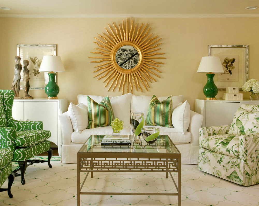 Зеленый,белый и бежевый цвета в гостиной