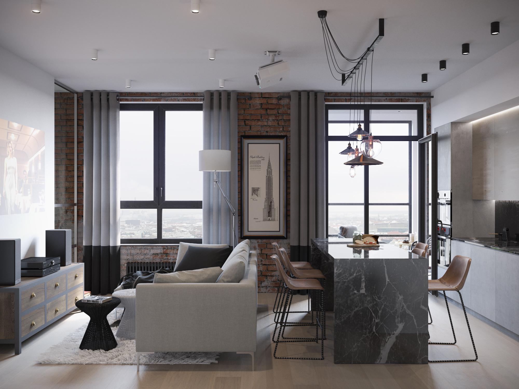 Серый, черный и коричневый цвета в интерьере гостиной-кухни