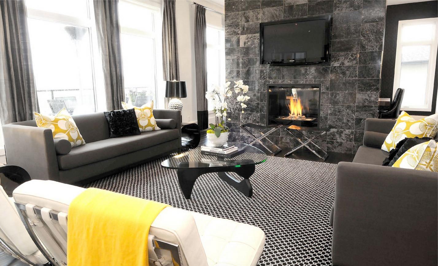 Белый, черный и серый цвета в гостиной с камином