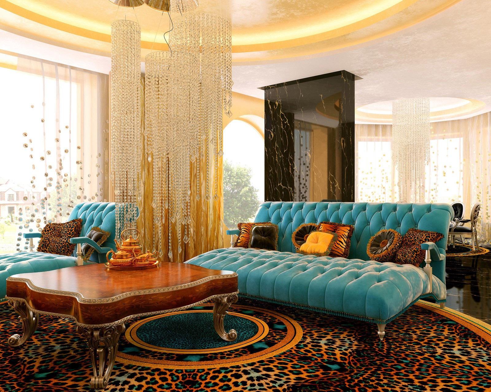 Коричневый, желтый и бирюзовый цвета в роскошной гостиной