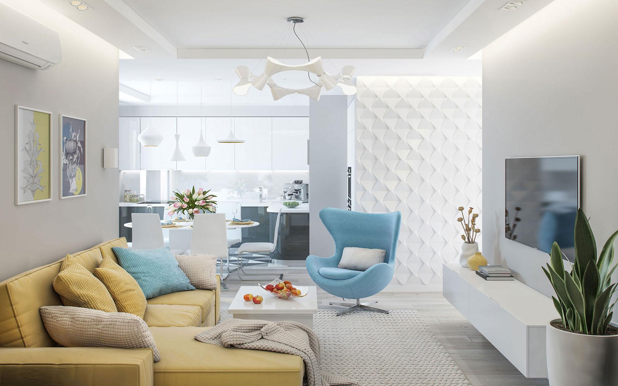 Голубые акценты в интерьере гостиной