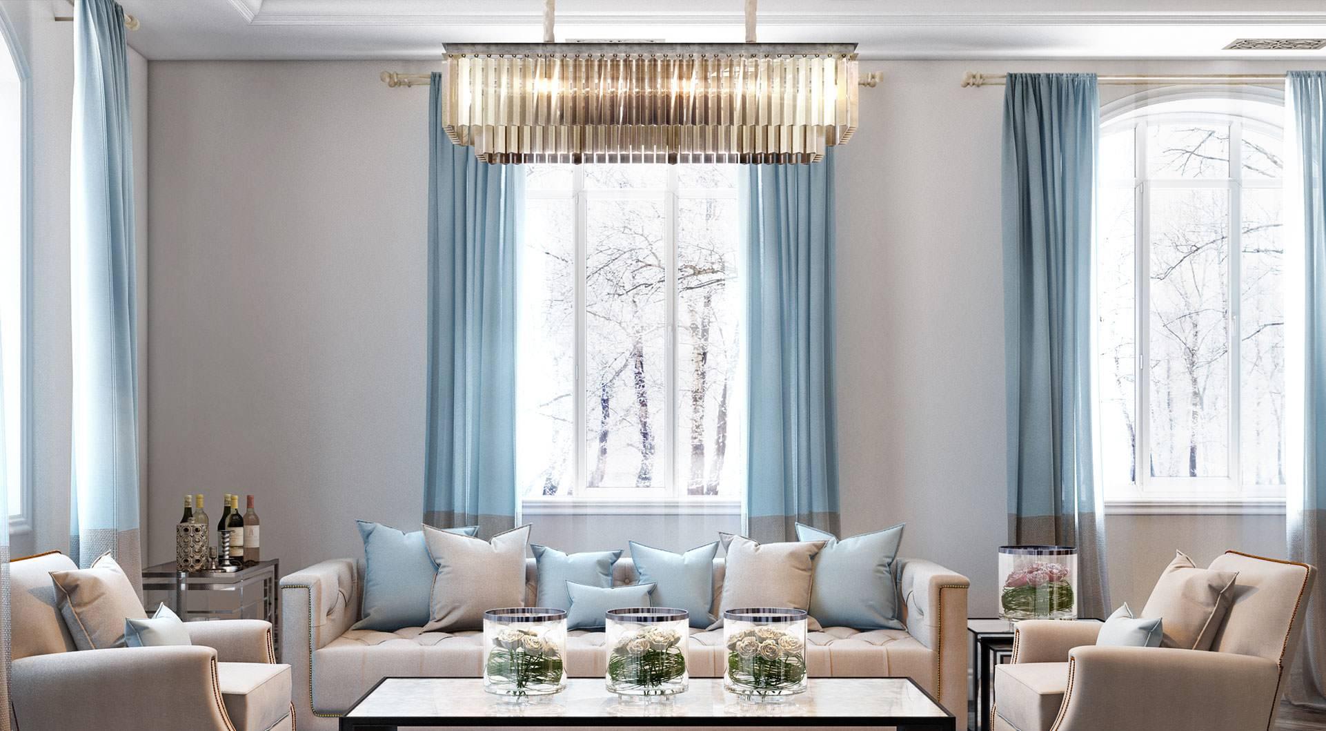 Голубой текстиль в гостиной