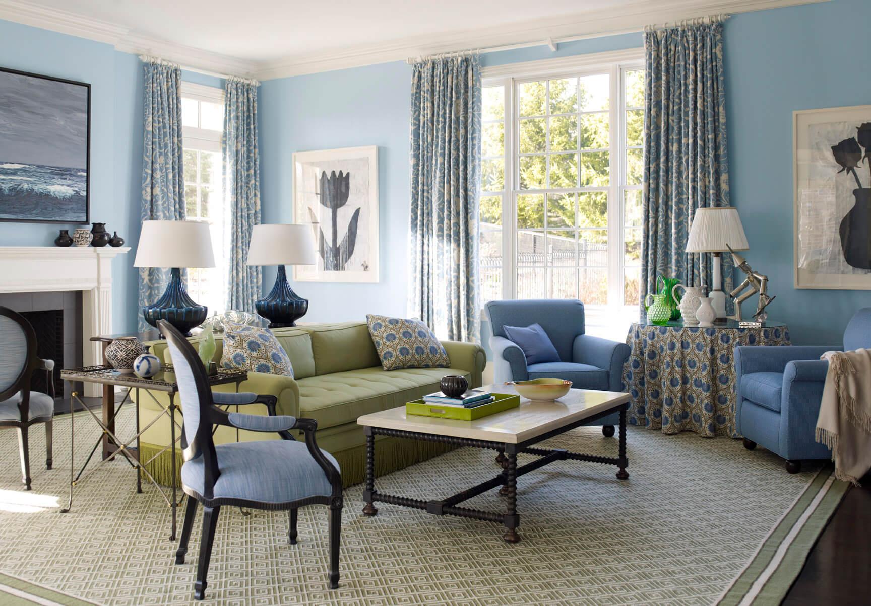Зелено-голубая гостиная