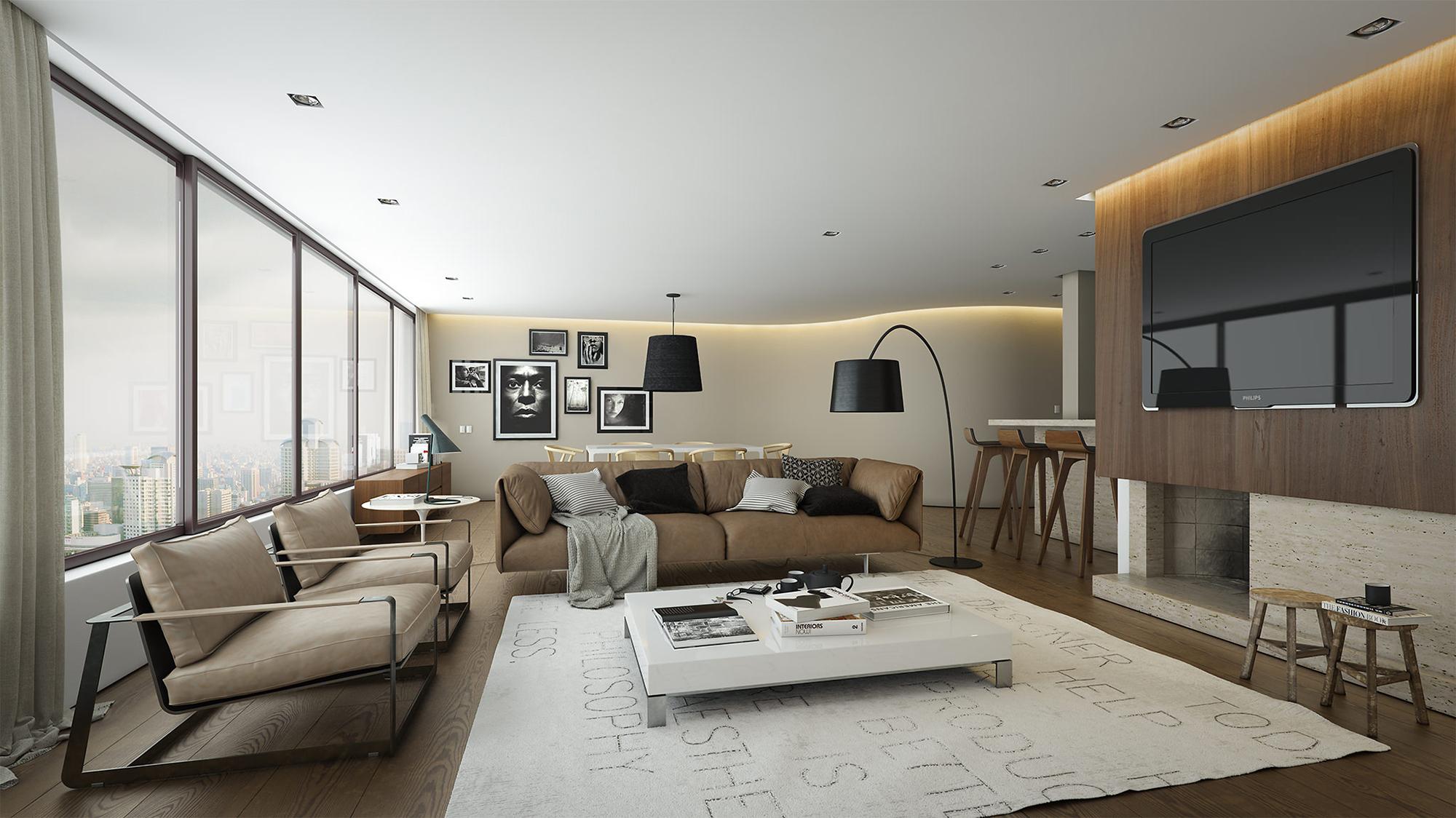 Белый ковер и журнальный стол в гостиной