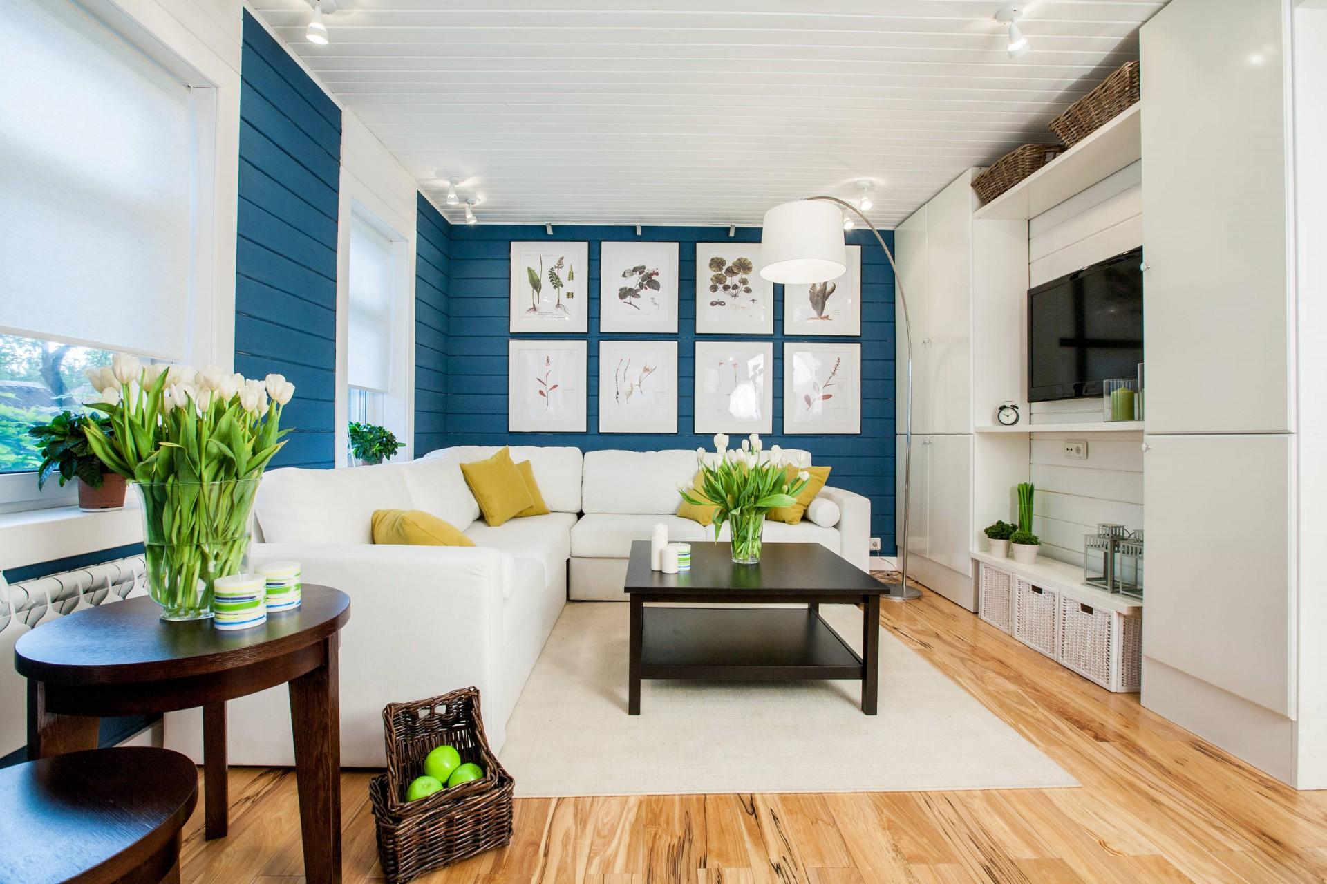 Зеленые и желтые акценты в  бело-синей гостиной