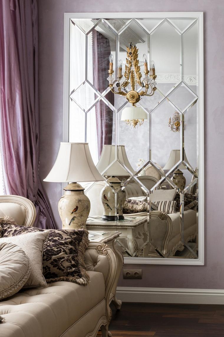Сиреневые стены и шторы в гостиной