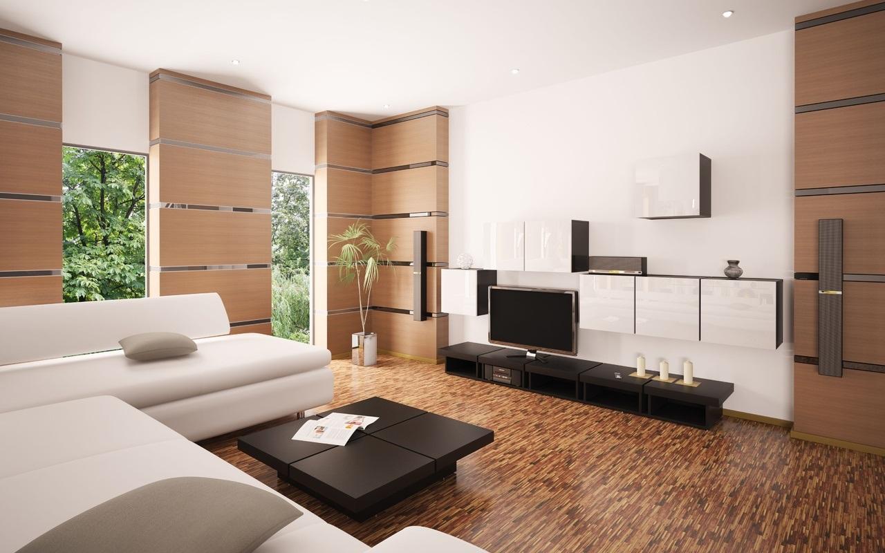 Необычный пол в коричнево-белой гостиной