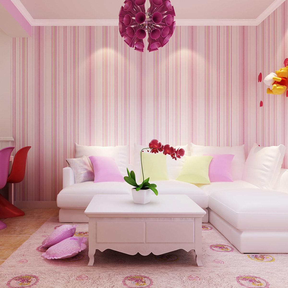 Розовые акценты в интерьере гостиной