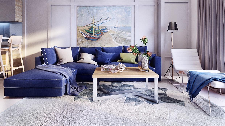 Синий угловой диван и белый шезлонг в гостиной-кухне
