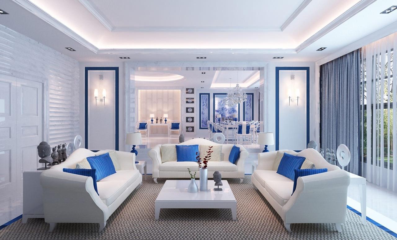 Сине-белая необычная гостиная