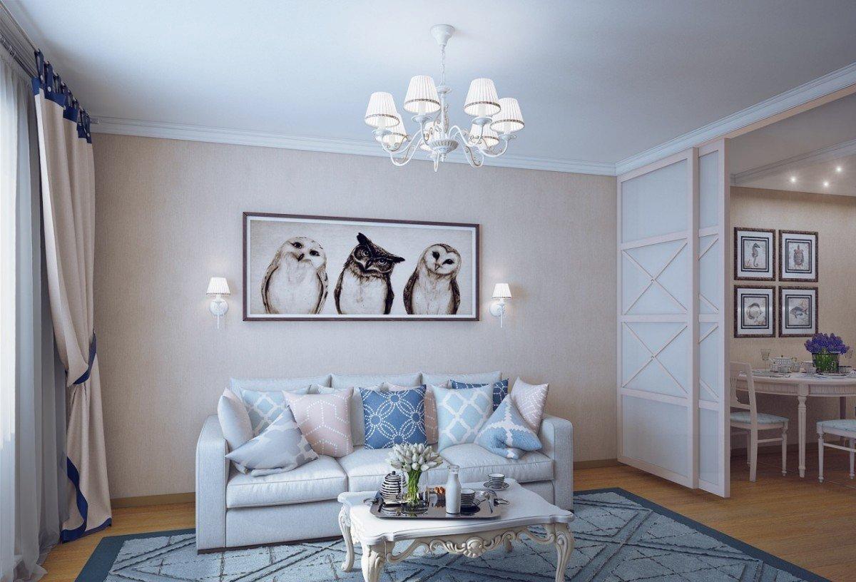 Бежевый, синий и белый цвета в гостиной