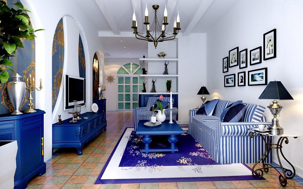 Пол из плитки в гостиной с синими акцентами