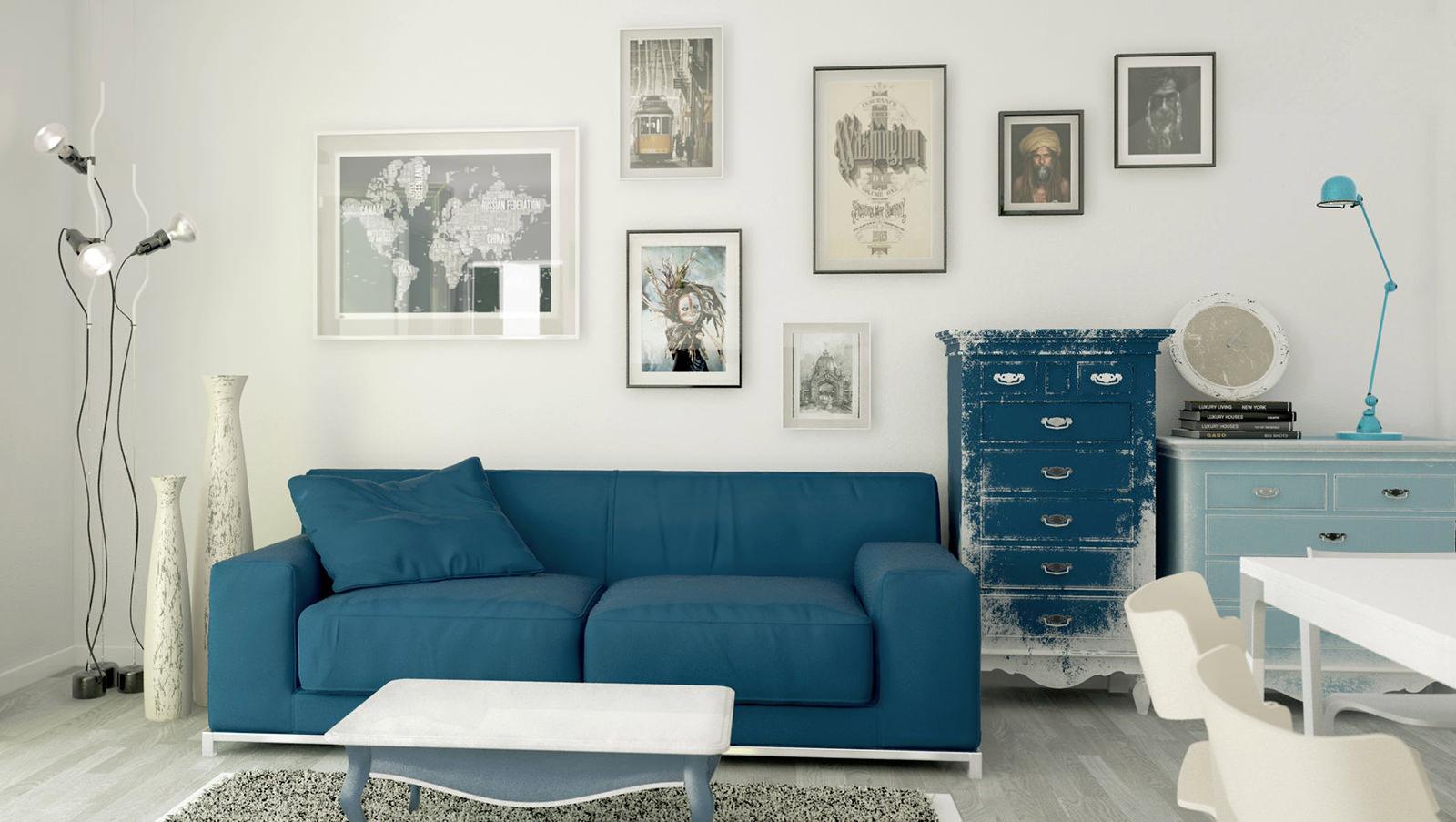 Серый паркет в гостиной с синей мебелью