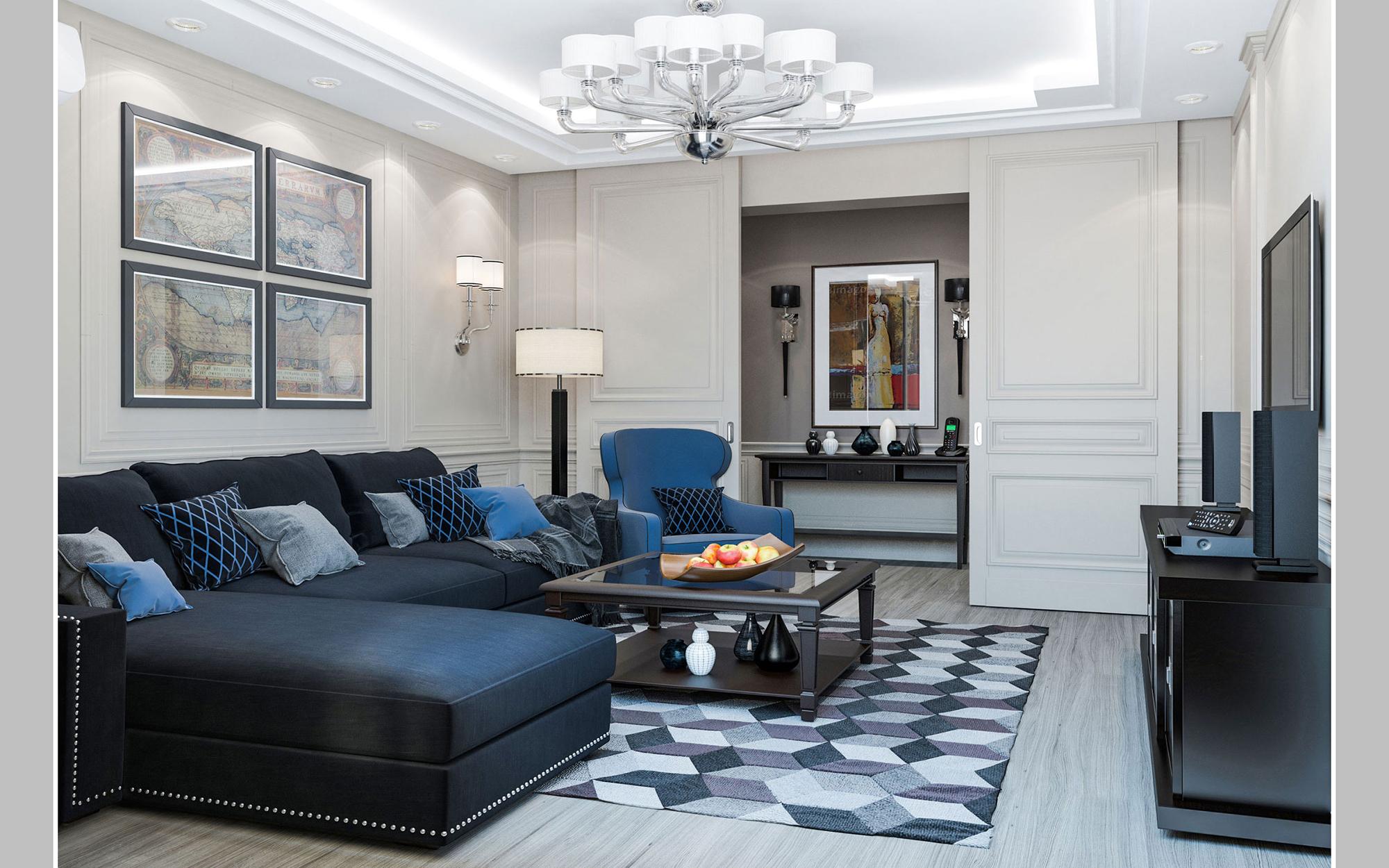 Синий диван и кресло в гостиной