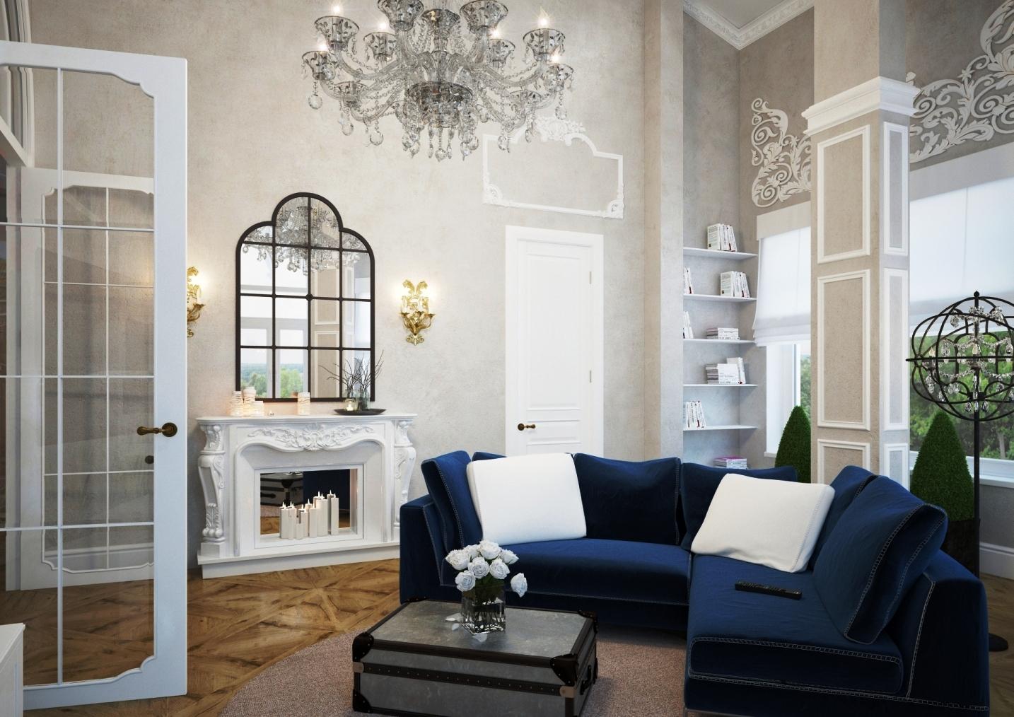 Синий угловой диван в серо-белой гостиной