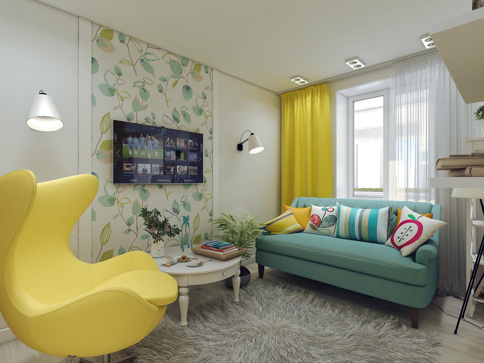 Желтый, бирюзовый, белый и серый цвета в гостиной