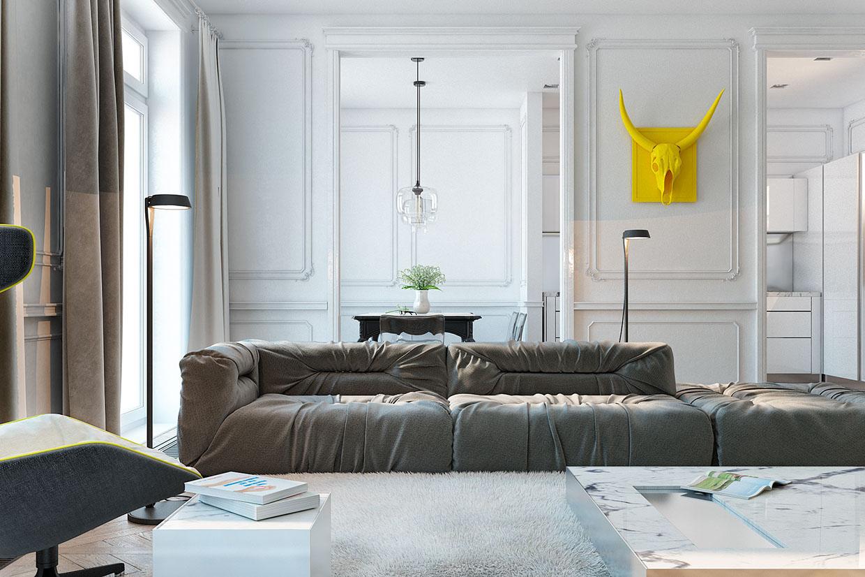 Серый диван в гостиной с желтым акцентом