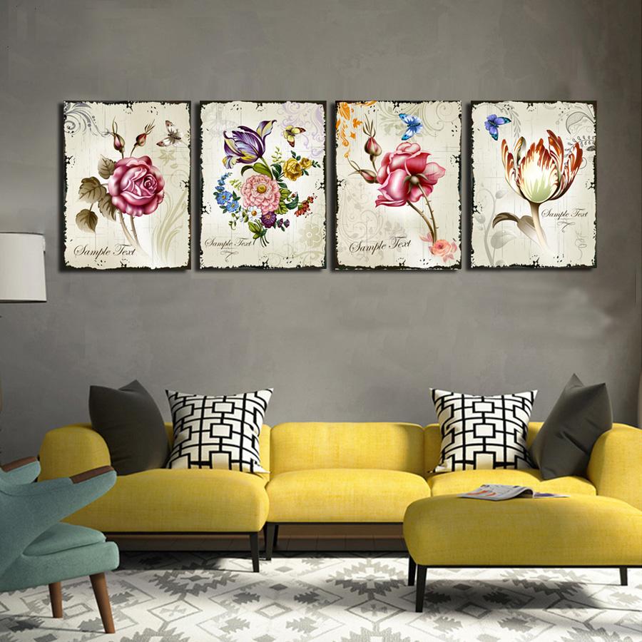 Красивые картины в желто-серой гостиной