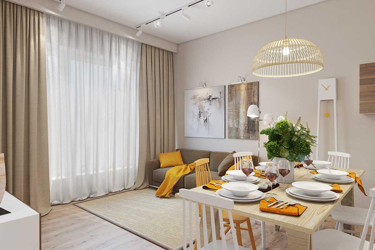 Желтые акценты в интерьере гостиной-столовой