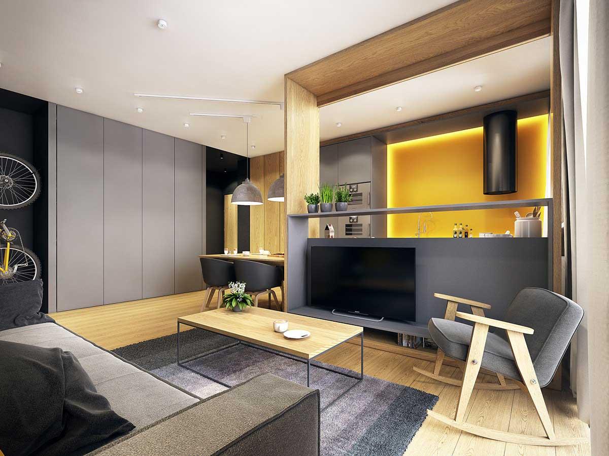Желтая стена в гостиной-кухне