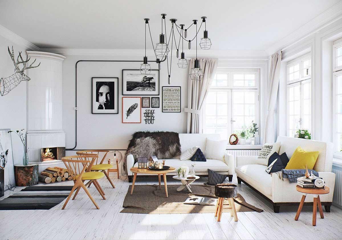 Желтые акценты в гостиной в скандинавском стиле