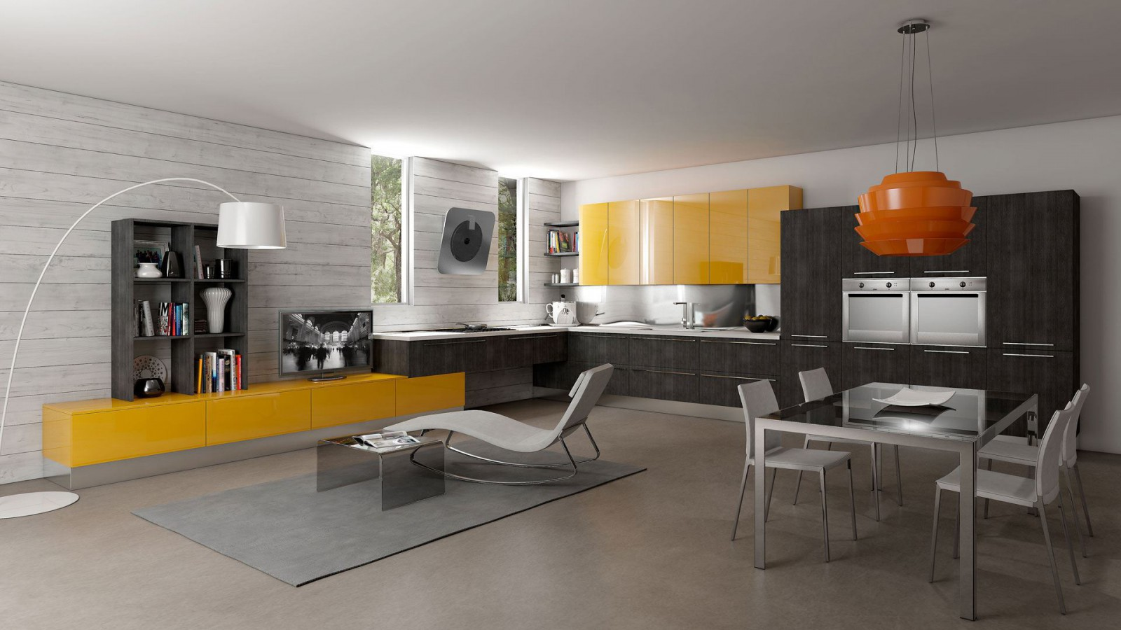 Желтые акценты в гостиной-кухне