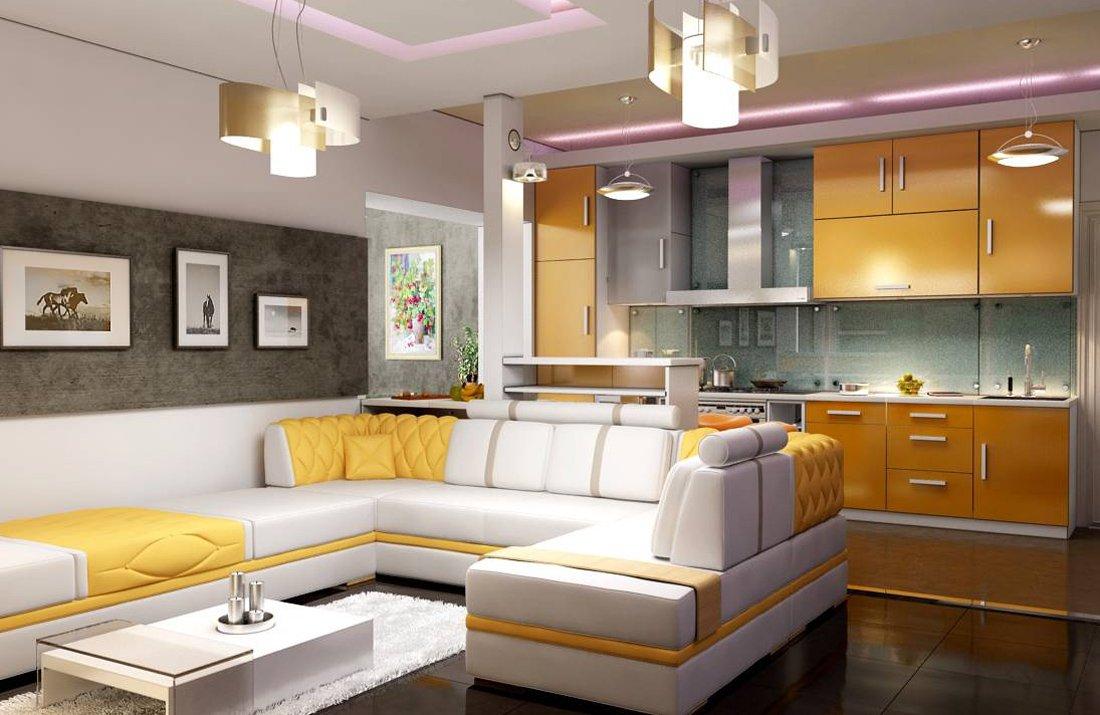 Желтые акценты в уютной гостиной-кухне