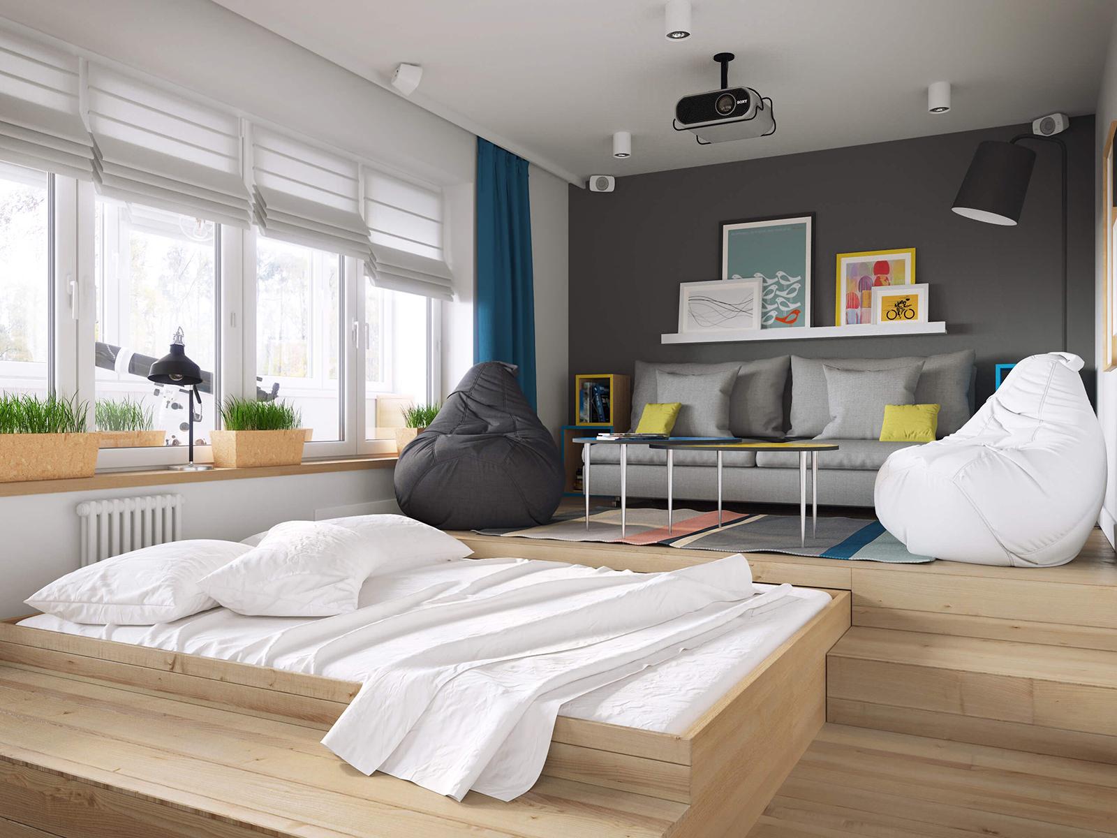 Желтые акценты в гостиной-спальне