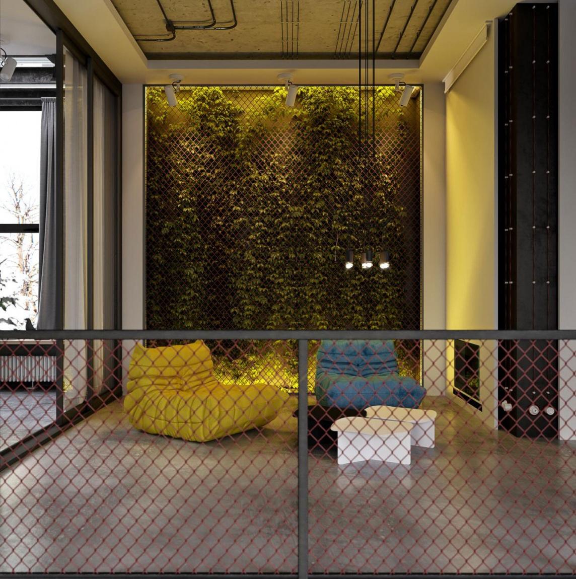 Желтое кресло в интерьере гостиной в стиле лофт