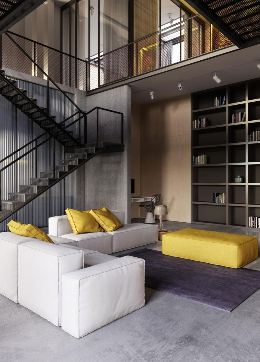 Бело-желтая мебель в гостиной в стиле лофт