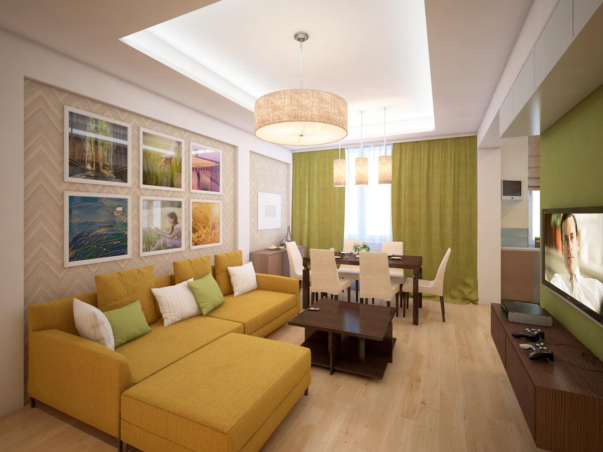 Желтый угловой диван в гостиной