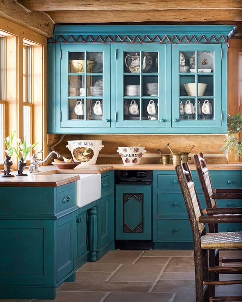 Кухня в голубых тонах кантри
