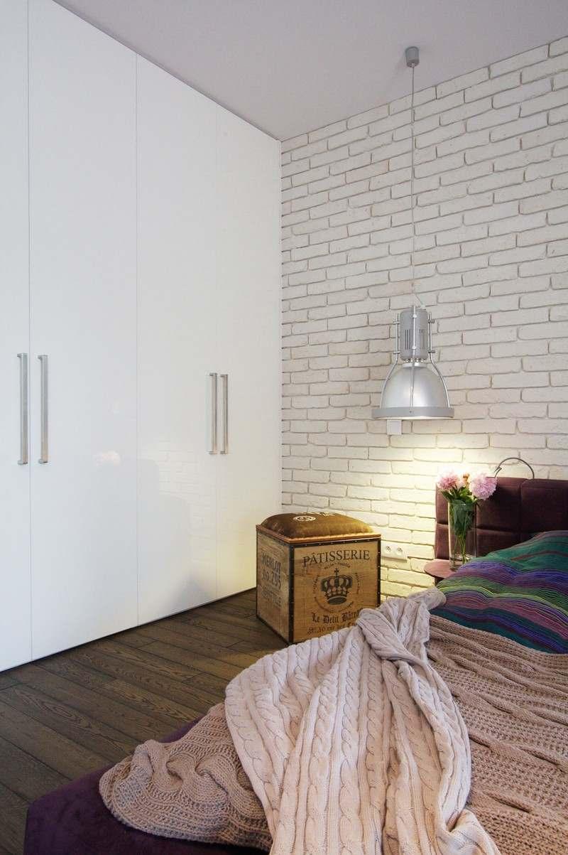 Дизайн спальни 18 кв м с кирпичной стеной