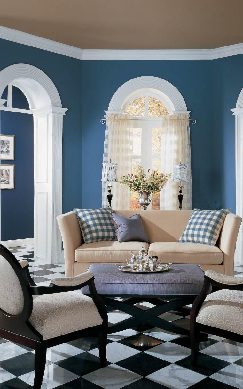 Голубая гостиная в колониальном стиле